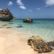 Anguilla Sandy Ground Beach...Shipwreck of Sarah, sank 1984 Hurricane Klaus